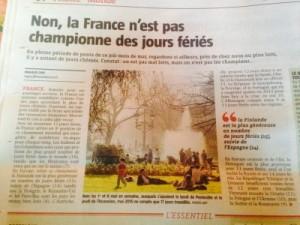 Article Voix du Nord : La France n'est pas championne des jours fériés.